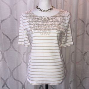 NWT Women's RAFAELLA Stone Striped Shirt Small Top